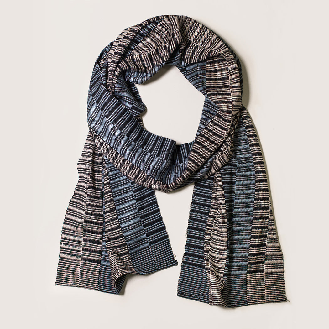 HAND-LOOMED MIE MEH SCARF BLACK, GREY + SAND