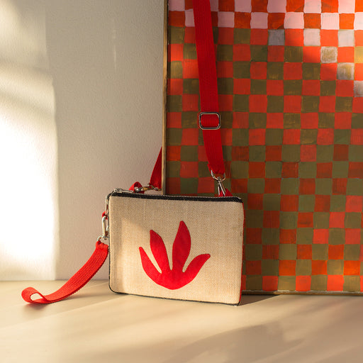 Red Botanical Mini Clutch/Convertible Shoulder Bag