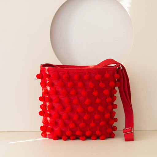 Red Pom Pom Shoulder Bag