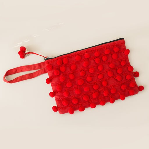 Red Pom Pom Clutch