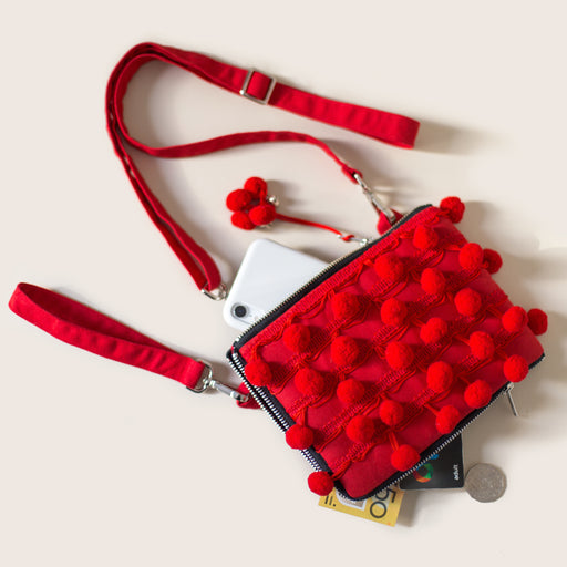 Red Pom Pom Mini Clutch