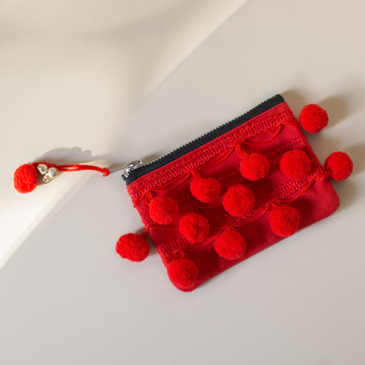Red Pom Pom Purse