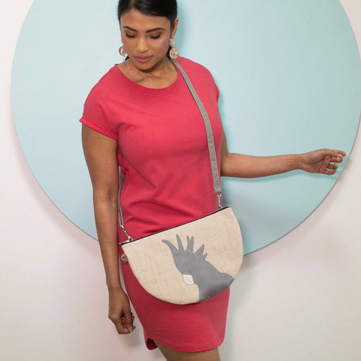 Half Moon Cackatoo Shoulder Bag/Convertible Clutch