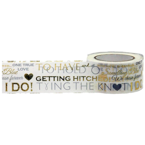 Gold Silver Wedding Word Play Tape • Little B Decorative Foil Tape