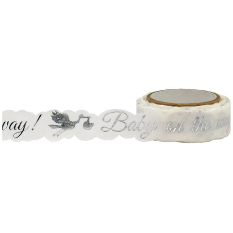 Baby Stork Silver Foil Die Cut Tape • Little B Decorative Foil Tape