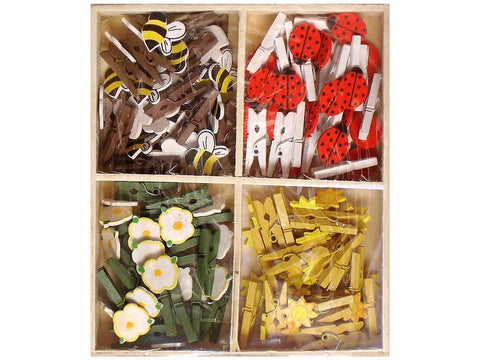 Lara's Painted Wood Mini Clothespin Assorted Garden (72 pieces)