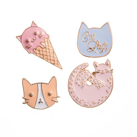 Cat Enamel Pin (4/pkg) Happy Jackets Decorative Enamel Pins Cats Meow Theme