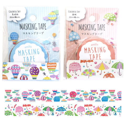Colorful Sky Washi Tape Set (2 rolls) Hot Air Balloon & Umbrella
