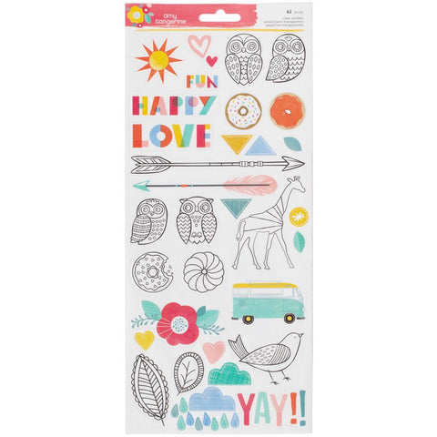 "Amy Tan Oh Happy Life Transparent Stickers Accents & Phrases 6""X12"" 2/Pkg"
