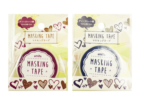 Deep Hearts Washi Tape Set (2 rolls) Amifa Masking Tape