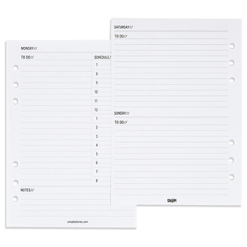 Carpe Diem A5 Double-Sided Daily Inserts 156/Pkg for A5 Planner