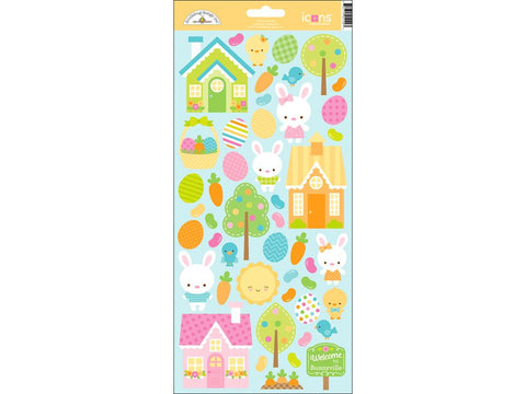 Doodlebug Collection Bunnyville Sticker Icon • Easter Stickers • Spring