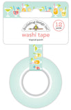 Doodlebug Collection Sweet Summer Washi Tape Tropical Punch- Tape is blue with different types of drinks, ome have straws, all have fruit and smiley faces.