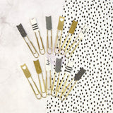 Banner Paper Clips My Prima Planner Embellishments • Gray, Gold & White W/Glitter & Foil
