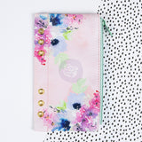 "Little Stars Floral with Gold Grommets My Prima Planner Zippered Pen & Pencil Bag 4""X8"" For A5 Planner"