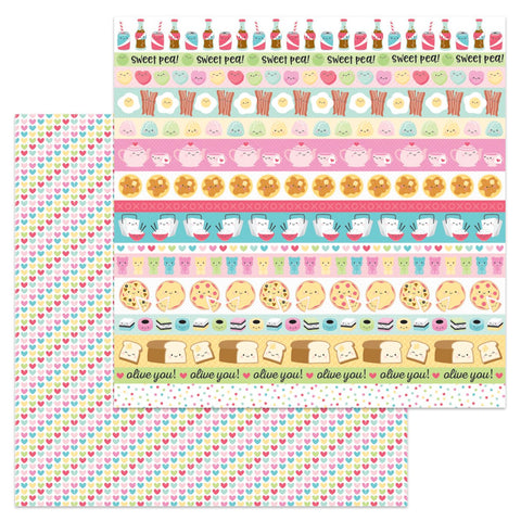 "Doodlebug Collection So Punny Paper 12""x 12"" includes Chinese Takeout, Pizza, Soda, Bacon and Eggs, Teapot, Tea Cup, Pancake, Gummy Bear and etc."
