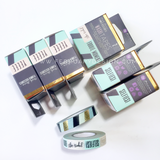 Frank Garcia Stripe W/Gold & Words My Prima Planner Washi Tape 15yd Rolls 2/Pkg