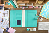 Color Crush Light Teal Faux Leather Composition Planner • Free Washi Tape