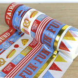 Embrace the fun of the fair with the First Edition Fairground Washi Tapes. Reminisce over days spent eating hot dogs and jumping on rollercoasters with this striking selection of red, white, blue and yellow Washi designs. Featuring inviting illustrations of pizza and popcorn, fairground scenes and marquee lights, this collection includes 8 different designs varying in size. You will also find Washi Tapes featuring a flourish of gold foil to give any project a lively and playful look!