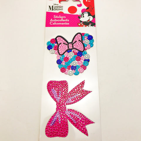 Minnie Mouse Rhinestone Stickers. One sheet of two rhinestone-embellished stickers to add sparkle and shine to school supplies, notebook, folders, electronic and more. Note: Not washable.