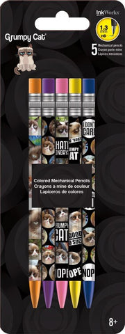 Grumpy Cat Colored Mechanical Pencils 5pk • 1.3mm HB Ink Works