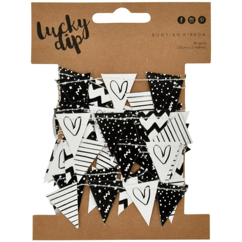 Black & White Lucky Dip Mini Paper Bunting 25mmX2m