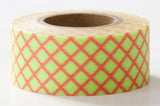 SALE Neon Light Green Check Japanese Washi Tape • Basic Masté Masking Tape