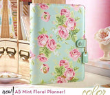 Mint Floral A5 Planner Kit Color Crush Webster's Pages • FREE WASHI TAPE
