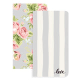 Color Crush Travelers Notepad Inserts Set 2/Pkg Love Stripe & Floral W/32 Gray Sheets
