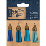 Denim Blue Tassels Papermania Tassels 4/Pkg