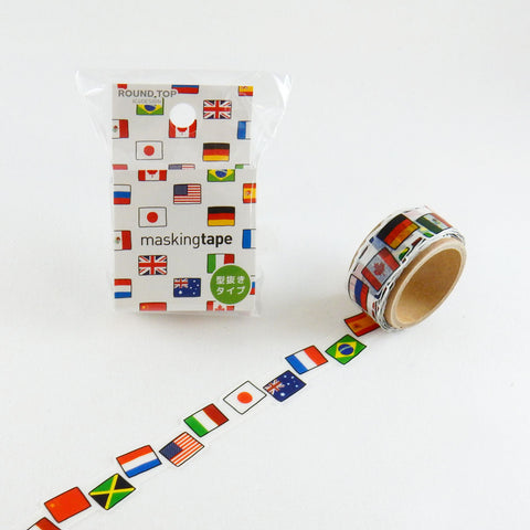 Flag Round Top Masking Tape • Tips Die-Cut Tape Character Series