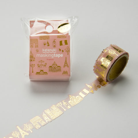 France Round Top Masking Tape Tips • Katanuki France Gold Foil Washi Tape