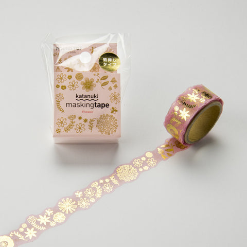 Flower Round Top Masking Tape Tips • Katanuki Flower Gold Foil Washi Tape