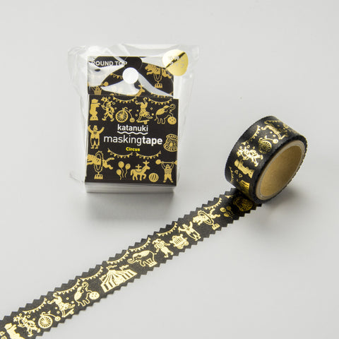 Circus Round Top Masking Tape Tips • Katanuki Circus Gold Foil Washi Tape