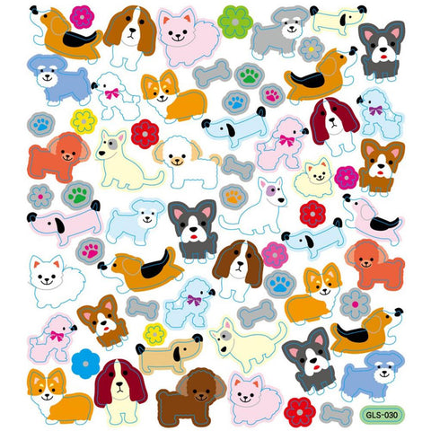 Dogs With Flowers Stickers