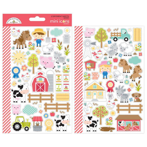 Down On The Farm Icons Doodlebug Mini Cardstock Stickers. This package includes 2 sheets, punch and store in your planner, perfect for calendars and planners.
