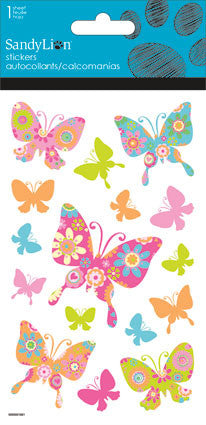 Colorful Butterflies Clear With Glitter Sticker