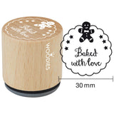 Baked With Love Gingerbread Man Woodies Mounted Rubber Stamp 1.35""