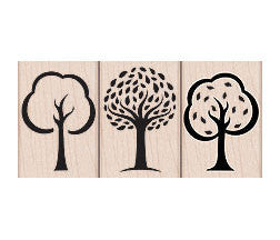 Three Artistic Trees Rubber Stamps