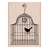 Bird in Cage Rubbr Stamp