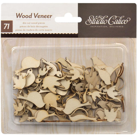 Birds Laser Cut Wood Veneer Shapes (71 pcs)
