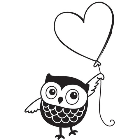 Owl & Heart Balloon Rubber Stamp