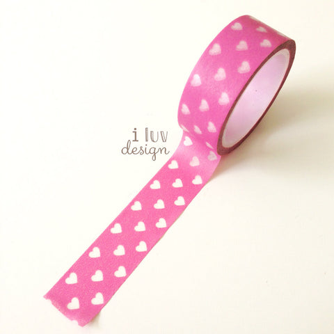 Pink with White Hearts Decorative Tape