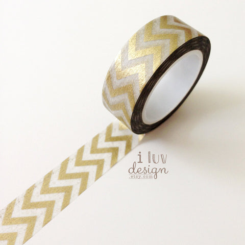 Gold Chevron Washi Tape • Zig Zag Decorative Tape