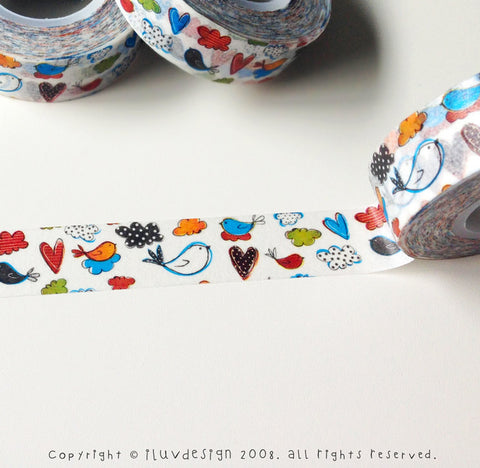 Birds & Polka Dot Clouds Washi Tape Works