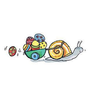 Snail and Easter Egg Cart Rubber Stamp