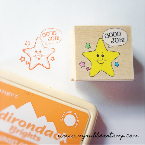 Good Job Star Rubber Stamp