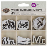 Weddings Wood Embellishment • Something Blue Laser Cut Wood Icons In A Box (24pcs)