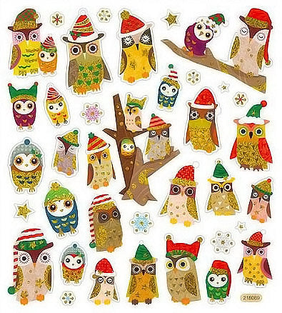 Owls In Christmas Hats Sticker