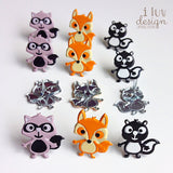 Woodland Animals Brads & Eyelets (12 Brads)
